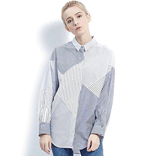 LI SHI XIANG SHOP Spring blue and white stripes shirt women's short blouse (Color : Blue, Size : L) by LI SHI XIANG SHOP