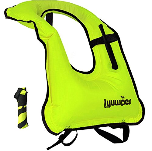 Lyuwpes Inflatable Snorkel Vest Adult Snorkeling Jackets Free Diving Swimming Safety Load Up to 220 Ibs -