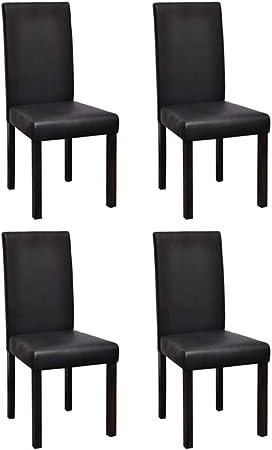 vidaXL 4X Chaise de Salle à Manger Similicuir Noir Chaises de Cuisine Sièges