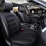 INCH EMPIRE Car Seat Cover Full Set Waterproof PU Leather Cushions Universal Fit Simple Style Front and Rear-Adjustable Length(Double Line Pure Black)