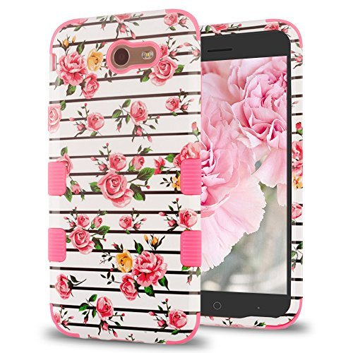 Samsung Galaxy J7 Prime / J7 V / J7 Perx / J7 Sky Pro / J7 2017 Case, Design Hybrid, Slim Fit Polycarbonate and Silicone TPU Hard Cover with Film Screen Protector and Stylus - Pink Roses on Stripes