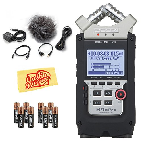 Zoom H4nPro 4-Channel Handheld Field Recorder Bundle with APH-4PRO Accessories, Batteries, and (Essentials Pro Accessory)