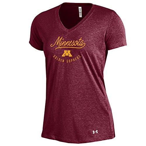 Under Armour NCAA Minnesota Golden Gophers Women's Threadborne V-Neck, Medium, Maroon