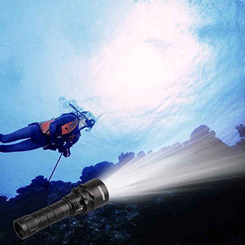 YDP-SPORT Cree XML2 Led Scuba Diving Flashlight Torch Power by 18650 Rechargeable Battery (Included) with Charger (Included) Underwater 50M for Diving and Outdoor Lighting by YDP-SPORT