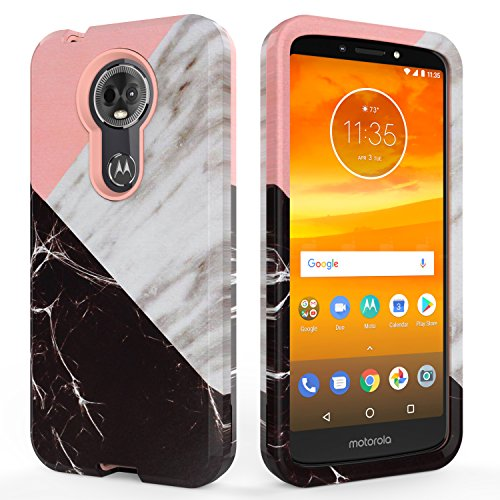 Moto E5 Plus Case, Moto E5 Supra Case,SLMY(TM) Fashion Marble Armor Shockproof Heavy Duty Shock Resistant Hybrid Soft Silicone Hard PC Cover Case for Motorola Moto E5 Plus-Marble Rose Gold
