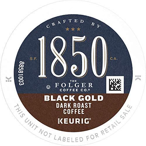 1850 by Folgers Coffee Black Gold Dark Roast Coffee, 60 K Cups for Keurig Coffee Makers