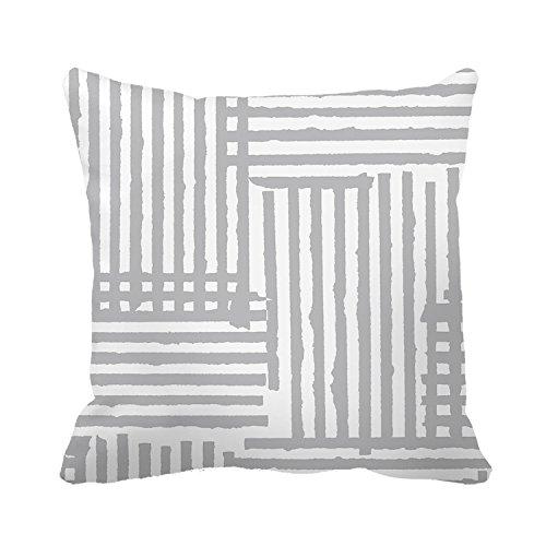 tamengi lona de algodón gris y blanco rayas fundas de ...