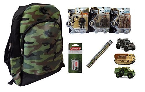 Ultimate Camo Military Toys Gift Pack: Jr. Camouflage Backpack, Elite Force Figures, Strike Force Vehicles, Pencils, Thermometer Compass Zipper Pull - Easter Basket idea for boys