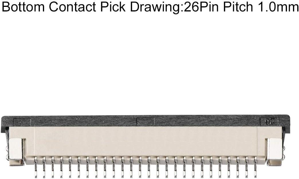 sourcing map Conector FFC//FPC 26Pin de 1.0mm de Paso Toma de Dibujo de Selecci/ón de Contacto Inferior 10uds