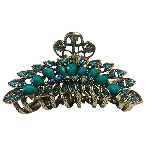 Large Retro Chic Metal Grip Imitation Turquoise Jewel Beads Hair Clips for Thick Hair Hair Claw Jaw Comb Pins Flowers Hair Catch Barrette with Teeth Hair Updo Grip Hair Accessories Women (Turquoise)