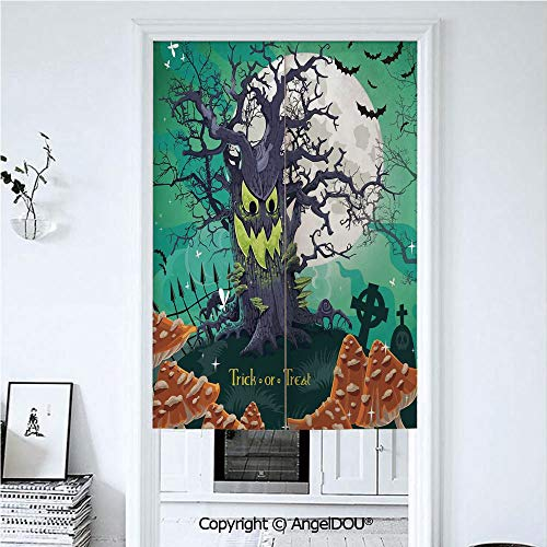 AngelDOU Halloween Decorations Japanese Noren Hanging Doorway Curtain Trick or Treat Dead Forest with Spooky Tree Graves Big Kids Cartoon Art for Living Room Kitchen Party. 39.3x59 -