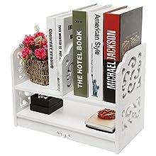 White Wood Openwork Freestanding Book Shelf / Desk Top Organization Caddy / Stationary Storage - MyGift