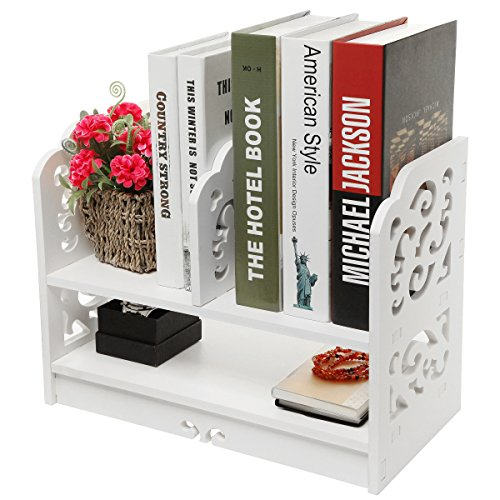 MyGift White Wood Openwork Freestanding Book Shelf/Desk Top Organization Caddy/Stationary Storage (Nightstand Bookshelf)