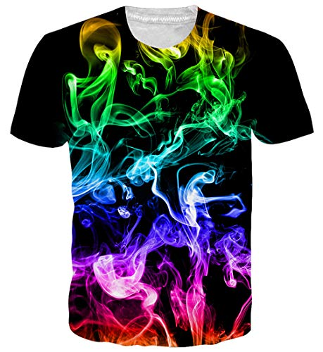 Loveternal Unisex Short Sleeve T Shirts Black Workout Dad Raw T Shirts Purple Green Smoke Dope Graphic Tees Graphic Colorful Funny Bar T Shirts for Men Women Comfy Tops S