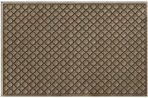 Bungalow Flooring Waterhog Doormat, 4 x 6 Made in USA, Durable and Decorative Floor Covering, Skid Resistant, Indoor Outdoor, Water-Trapping, Cordova Collection, Khaki Camel