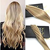 Sunny Two Tone Tape in Hair Extensions Highlighted Golden Blonde to Medium Blonde Salon Quality Human Hair Extensions Tape in 20inch 20pcs 50g