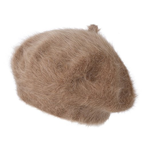 ililily Solid Color Angora French Beret Furry artist Flat Winter Hat, Brown