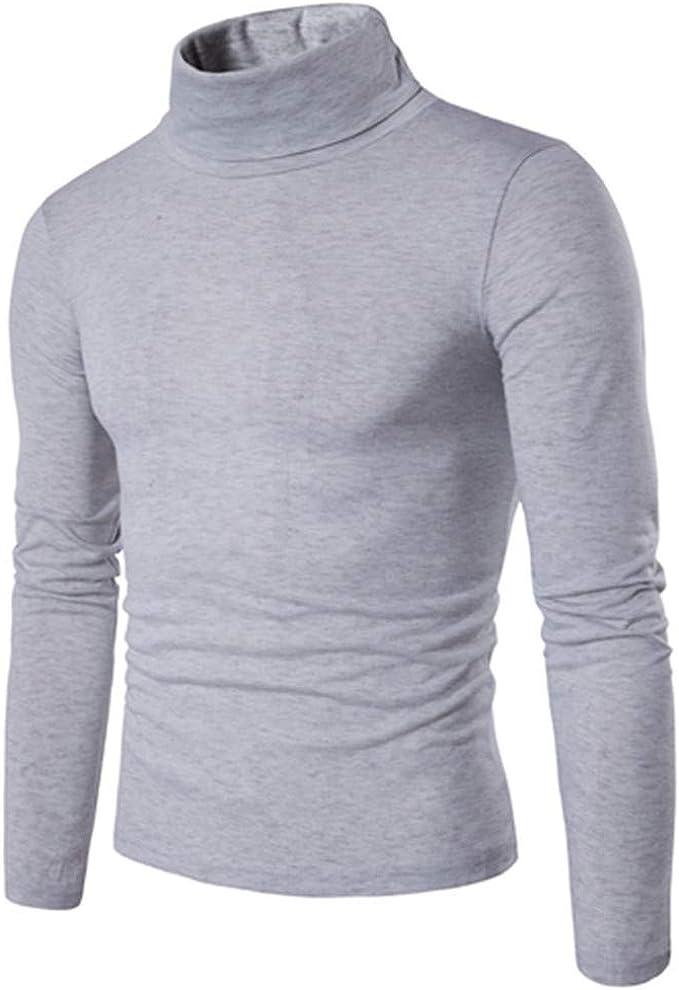 SXZG Nuevo Suéter De Solapa De Los Hombres De Manga Larga De Los Hombres De Cuello Alto Suéter De Fondo Casual Camisa Adelgazante: Amazon.es: Ropa y accesorios