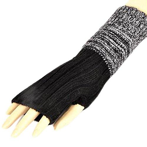 冬指なしニット手袋暖かい手袋の女性の/女の子、ブラック