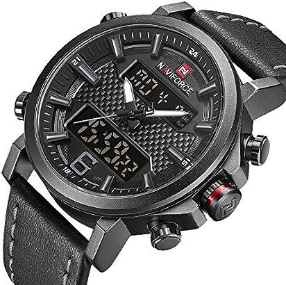 NAVIFORCE Men Sport Dual Display Watch Casual Analog Digital Black Chronograph Wristwatch Waterproof