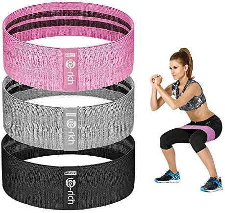 Te-Rich Resistance Bands for Legs and Butt, Fabric Workout Loop Bands, Set of three