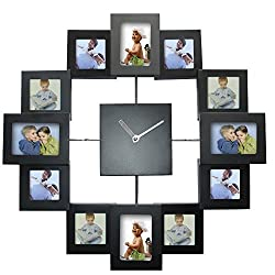 Wall Clock Modern Design Photo Frame Clock 12 Pictures Large Decorative Metal Living Room Art Decor Horloge Murale (Black)