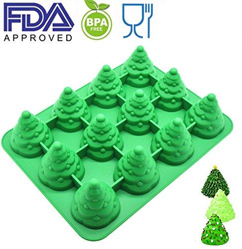 Christmas Tree Mold (Silicone 12 Cavity Tree Mold & Christmas Tree mold Make tree cake、chocolate、 Jello、shaped candles Christmas)