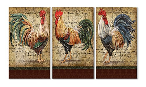 Rooster Trio - Stupell Home Décor Le Coq 3-Piece Triptych Wall Plaque Set, 11 x 0.5 x 17, Proudly Made in USA