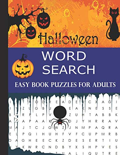 Halloween Word Search Easy Book Puzzles for adults: Large Print Easy Games Words Puzzle Book Word Search 30 Puzzles -