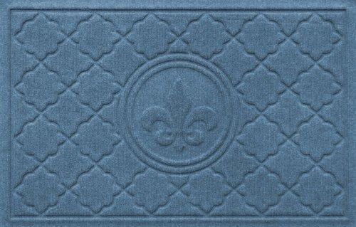 Bungalow Flooring 2 by 3-Feet WaterGuard Door Mat, Bombay Fleur De Lis Design, Blue Stone