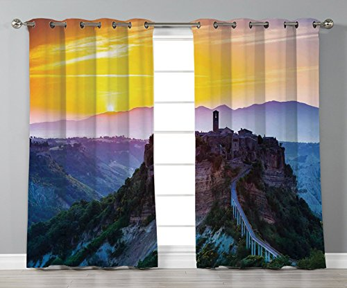 Castle Tuscan 2 Light - Thermal Insulated Blackout Grommet Window Curtains,Tuscan Decor,Old Historic Castle and Town on Top of the High Hills in Italian Renaissance at Sunset Print,Multi,2 Panel Set Window Drapes,for Living