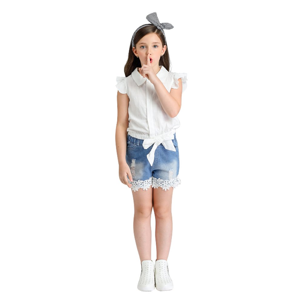 Cute Baby Girls Short Sleeve Outfit Set Floral T-Shirt and Pants Set 2pc Thanksgiving Outfit with Pocket