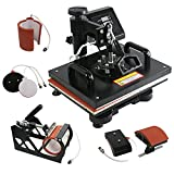 Image of F2C® Pro 5 in 1 Digital Transfer Sublimation Heat Press Machine Hat/Mug/Plate/Cap/T-shirt Multifunction New Black(5 in 1)