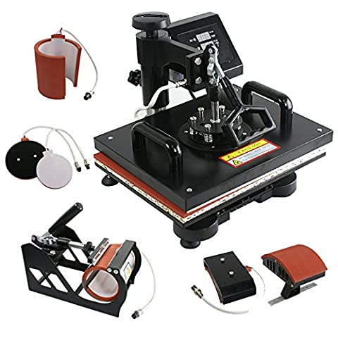 F2C® Pro 5 in 1 Digital Transfer Sublimation Heat Press Machine Hat/Mug/Plate/Cap/T-shirt Multifunction New Black(5 in (15 X 15 Power Heat Press)
