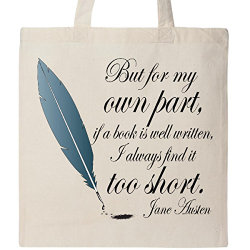 Inktastic Jane Austen Book Quote Tote Bag (Jane Austen Tote Bag)