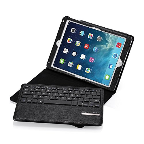 iPad Air/iPad Air 2 Keyboard + Leather Cover, Poweradd Bluetooth iPad Keyboard Cover w/Removable Wireless Keyboard, Built-in Multi-angle Stand for Apple iPad Air 1/2, iPad 5/6 [iOS 10+ Support] by POWERADD