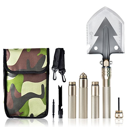 Military Shovel, Coofel Multi function Portable Utility Folding Shovel Multitool Tactical Spade for Camping Hiking, Backpacking, Fishing With A Carrying Pouch