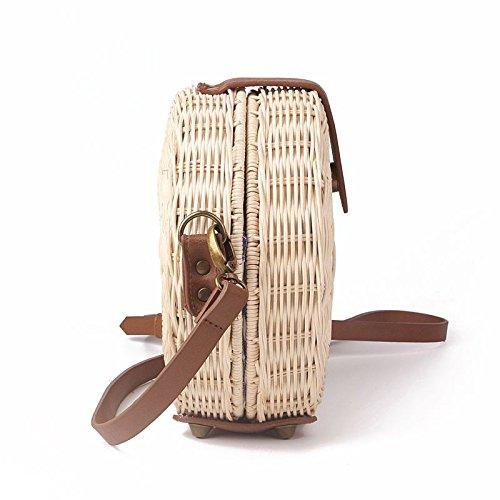 de Sac Boheme de a plage a polyester les rotin tricotes Sac vintages avec la REFURBISHHOUSE de pour main de de main style Sacs Bali cercle femmes en des bandouliere 16cm femmes paille a vSdPTq