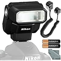Nikon SB-300 AF Speedlight Flash Bundle with Flash Cord + Fibertique Cleaning Cloth + Batteries
