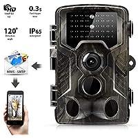 """3G Wildkamera Suntek 16MP 1080P Full HD Jagdkamera Infrarote 24m 42 LEDs Nachtsicht Bewegungsmelder 120 ° Weitwinkelobjektiv IP65 Wasserdicht 2.0"""" LCD, Schwarz-Weiß-Nachtbilder Fotofalle Trail Camera"""