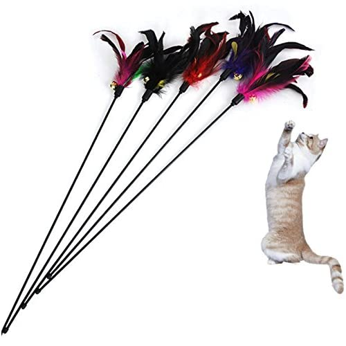 5 X Yonger Teaser Cat Catcher Cat Toy Training Cat Interactive Feather Wand Rod with Bell delicate