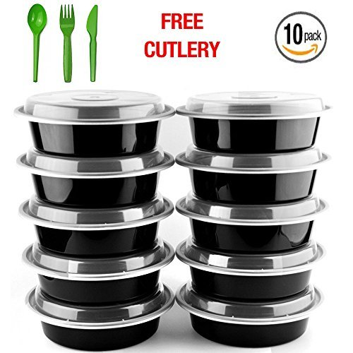 Round Meal Prep Containers Set by NimNik, 10 Pack Lunch Box Bento Box Food Storage Portion Control Container, BPA Free, Reusable, Microwave, Dishwasher, Freezer (Full Feature Kitchenettes)