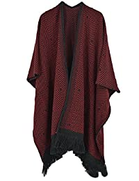 VamJump Women Winter Knitted Cashmere Poncho Capes Shawl Cardigans Sweater Coat