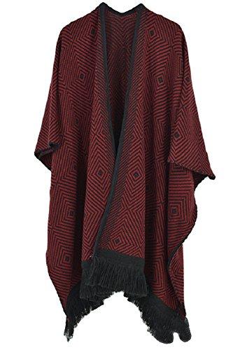 VamJump Women Winter Tassel Knitted Cashmere Poncho Cape Shawl Blanket Scarves