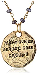 """Alisa Michelle """"Words To Live By"""" Iolite 14K Gold Plated Double Sided Karma Coin Pendant Necklace"""