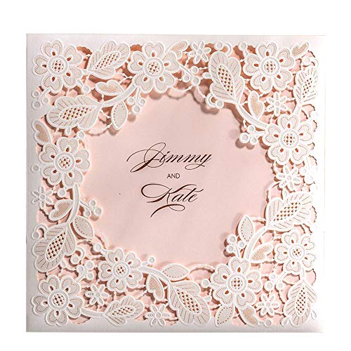 Doris Home 50pcs Square White Laser-cut Lace Flower Pattern with Pink inner Wedding Invitations Cards (50)