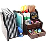 Lukzer Multi-Functional Wooden Desk Organiser, Pen Stand/Pencil Stand, Stationery Stand for Office and Students use (7 Compartments) (28 cm Broad)