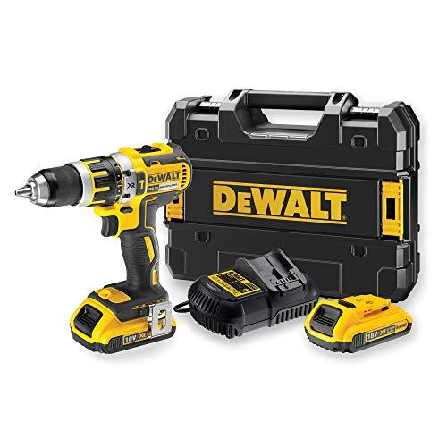 DeWalt DCD795D2-QW – Taladro Percutor a bateria sin escobillas XR 18V 13mm 60Nm con 2 baterías Li-Ion 2,0Ah con maletín…