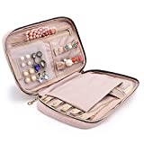 BAGSMART Travel Jewellery Organizer Case Portable Jewelry Bag for Rings, Necklaces, Bracelets, Earrings, Pink
