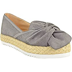 Fashion Thirsty Womens Slip On Espadrilles Flats Ruched Bow Sneakers Shoes Size 9